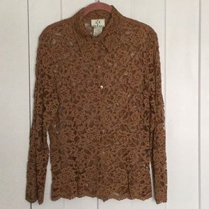 ICE Lace Blouse Beautiful Bronze Color Size M